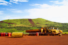 Articulated haul trucks on mine site in Africa Royalty Free Stock Photos