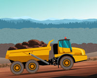 Articulated hauler dump truck. Articulated dump truck at work. Vector color illustration Stock Photo