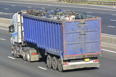 Articulated lorry and trailer on motorway Stock Images