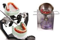 Articulator e strumentazioni dentali del laboratorio per la protesi dentaria Fotografia Stock