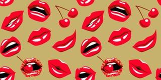 Articule con beso, sonrisa, los dientes y la cereza labios rojos del Estallido-arte con la cereza roja en modelo inconsútil del f ilustración del vector