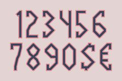 Artifact angular numbers with currency signs of dollar and euro.  royalty free illustration