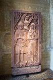 Artifact of the Early history collection in Neues museum in Berl. BERLIN, GERMANY - APRIL 7: Tombstone of  Heinrich Beyer von Boppard in expositions of early Stock Image