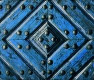 Artifact wooden door. Background or texture artifact wooden doors blue Stock Images