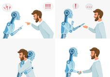 Artific intelligence interaction concept. Human and robot. Human and modern robot communication. Concept business vector illustration