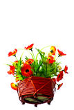 Artificail flower in wood basket Stock Photos