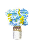 Artifical blue and yellow flowers in ceramic vase Royalty Free Stock Images