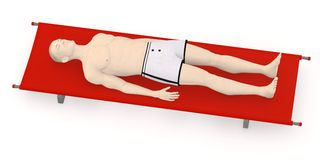 Artifical character on stretcher5 Royalty Free Stock Image