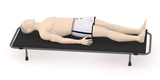 Artifical character on stretcher8 Stock Photography