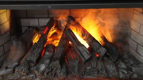 Artifical electronic fireplace stock video footage