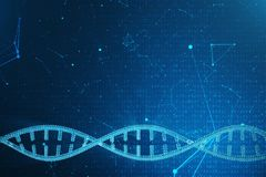 Artifical intelegence DNA molecule. Concept binary code genome. Abstract technology science, concept artifical Dna. 3D. Artifical intelegence DNA molecule royalty free stock photo