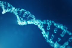 Artifical intelegence DNA molecule. Concept binary code genome. Abstract technology science, concept artifical Dna. 3D. Artifical intelegence DNA molecule stock photography