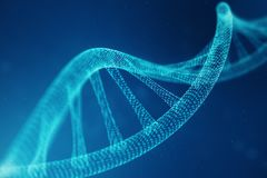 Artifical intelegence DNA molecule. DNA is converted into a binary code. Concept binary code genome. Abstract technology. Science, concept artifical Dna, 3D royalty free stock photo