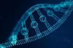 Artifical intelegence DNA molecule. DNA is converted into a binary code. Concept binary code genome. Abstract technology. Science, concept artifical Dna, 3D stock photo