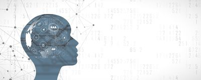 Free Artifical Intelligence Woman Face With Social Network Conection. All World In Her Brain Stock Images - 107025074