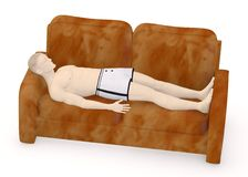Artifical male sleeps on sofa Stock Photos