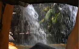 Artifical Waterfall. In a cave with palm trees Stock Photos