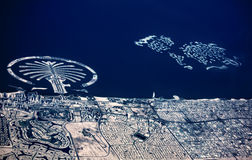 Artificial archipelago The Palm Jumeirah und The World. Stock Image