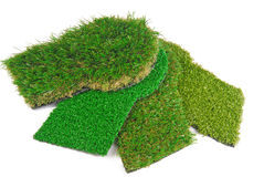Artificial astroturf grass  samples Stock Photos