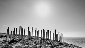 Artificial barrier, strange landscape Royalty Free Stock Photo