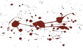Acrilic paint red splatters. Artificial blood splatters on white background stock photos