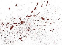 Acrilic paint red splatters. Artificial blood splatters on white background royalty free stock photography