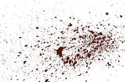 Acrilic paint red splatters. Artificial blood splatters on white background stock photography