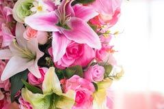 Artificial bouquet flowers of color. Close up of artificial bouquet flowers of color Stock Photos