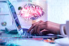 Artificial brain and brainstorm concept stock photo