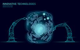 Artificial cell synthesys gene therapy DNA 3D chemical. Animal cell biochemistry engineering research concept. Biorobot