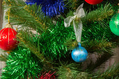 Artificial Christmas tree decorated with balls Royalty Free Stock Photos