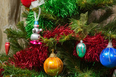 Artificial Christmas tree decorated with toys Stock Photo