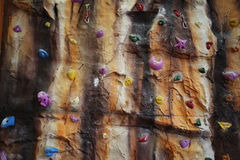 Artificial climbing wall indoor Stock Images