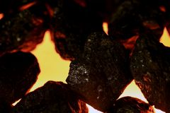 Artificial Coal and Fake Fire Stock Photography