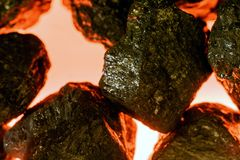 Artificial Coal and Fake Fire Royalty Free Stock Photo