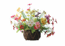 Artificial colorful flowers in jardiniere for decoration house. Stock Photography