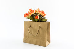Artificial colorful of flowers made from cloth in shopping bag. Stock Image