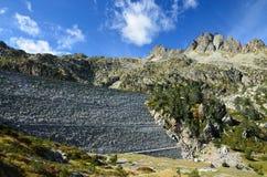 Artificial dam in the the High Pyrenees Stock Photos