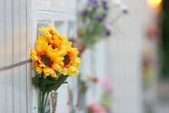 Artificial decoration flowers in columbarium Stock Photo