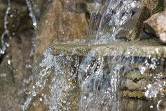 Artificial decorative waterfall with three modulations. Old artificial decorative waterfall with three modulations Royalty Free Stock Photos