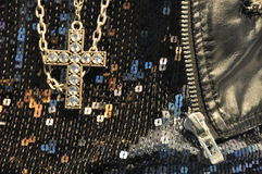 Artificial diamond cross. Artificial diamond jewelry cross with necklace Stock Images