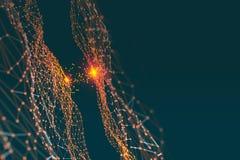Artificial digital neural network. Blockchain technology royalty free illustration