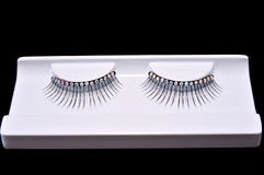 Artificial eyelashes with diamonds Royalty Free Stock Photos