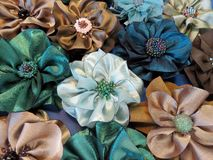 Artificial fabric flowers Royalty Free Stock Images