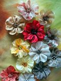 Artificial fabric flowers stock photo