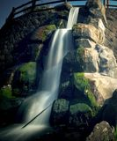 An artificial waterfall long exposure shot. royalty free stock image