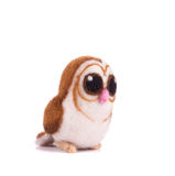 Artificial felt owl toy. Stock Image