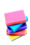Artificial fiber sponge. 5 colorful Artificial fiber sponge over white Stock Photo