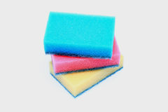 Artificial fiber sponge. Over white Stock Photography