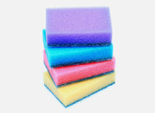 Artificial fiber sponge. Over white Royalty Free Stock Images